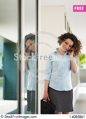 Free Mid Adult Businesswoman On The Phone Stock Image - 14085861
