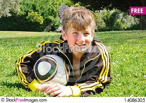 Free With Ball On The Green Grass Royalty Free Stock Photo - 14086305