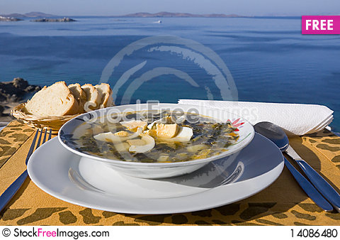 Free Vegetable Soup With Eggs Of The Sea Stock Photo - 14086480