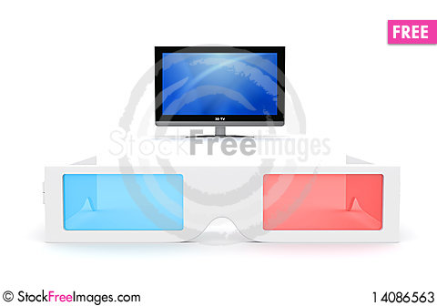 Free 3-D Glasses And Display Stock Photos - 14086563