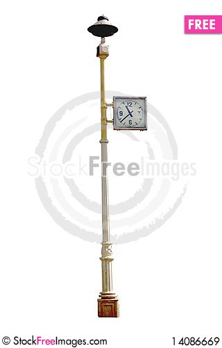 Free Street Clock Isolate On White Royalty Free Stock Images - 14086669