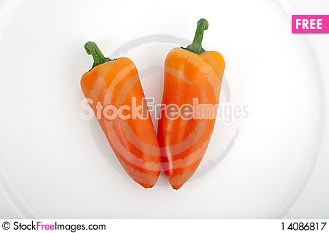 Free Two Sweet Peppers Royalty Free Stock Photography - 14086817