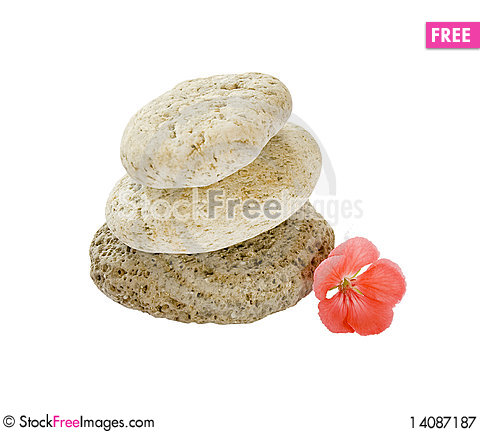 Free Close Up Stack Of Stones And A Pink Flower Royalty Free Stock Photography - 14087187
