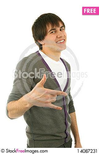 Free Man Gesturig Portrait Stock Image - 14087231