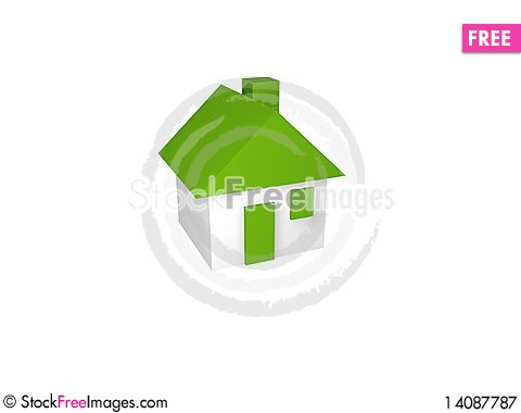 Free Small House On White Background Royalty Free Stock Photography - 14087787