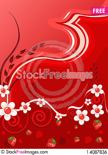 Free Bright Red Background With Flowers Royalty Free Stock Image - 14087836