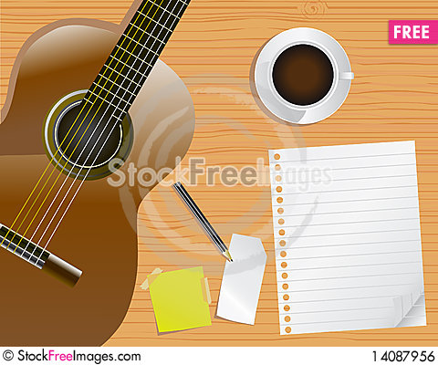 Free Page, Desk And Guitar Royalty Free Stock Image - 14087956