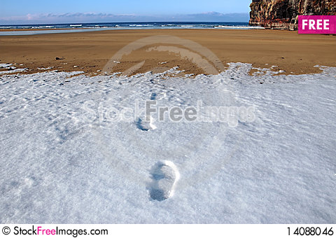 Free Footprints On Empty Beach On A Cold Winters Day Royalty Free Stock Image - 14088046