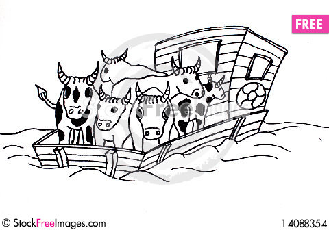 Free Flatboat With Livestock Stock Images - 14088354
