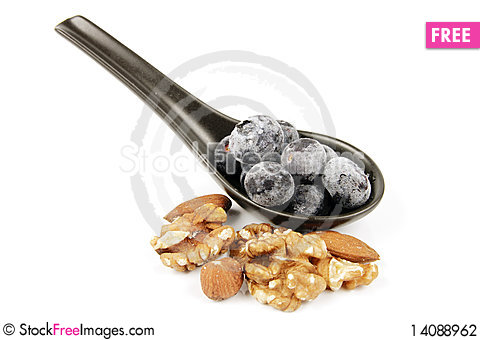Free Frozen Blueberries And Nuts Stock Photography - 14088962