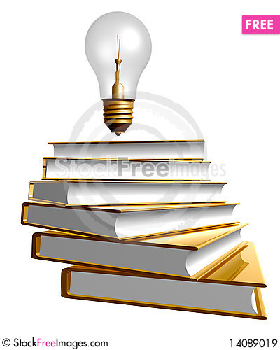 Free Golden Books And Ideas Bulb Royalty Free Stock Images - 14089019