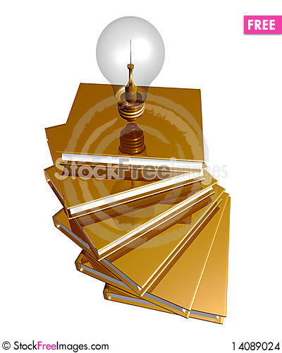 Free Golden Books And Ideas Bulb Stock Images - 14089024