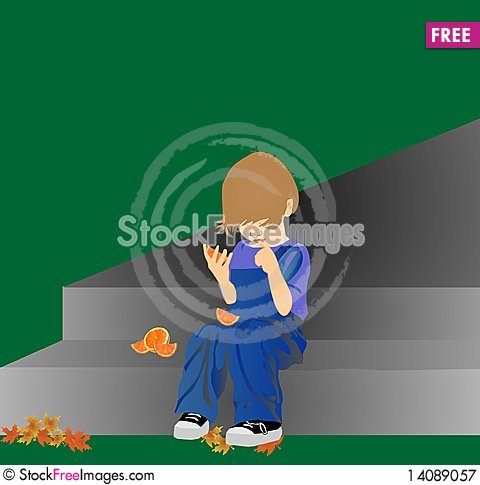Free Child Thinking About Oranges And More Royalty Free Stock Photography - 14089057