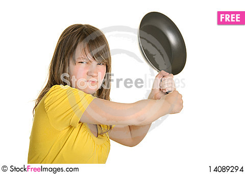 Free Offended Girl Has Threatened Frying Pan Stock Images - 14089294
