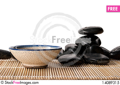 Free Some Dark Stones And Cup For Tea Royalty Free Stock Photo - 14089315