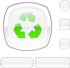 Recycle White Button. Stock Images