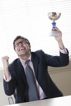 Free Businessman Celebrating Raising A Cup Royalty Free Stock Photo - 14081865