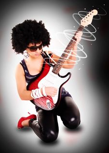 Free Young Guitarist Girl Holding Guitar Royalty Free Stock Photos - 14084218