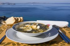 Vegetable Soup With Eggs Of The Sea Stock Photo