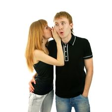 Free Couple Whispering  Isolated Background Royalty Free Stock Photos - 14087238