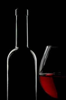Free Bottle And Glass Of Red Wine Stock Images - 14087784