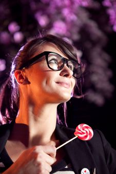 Free Lovely Girl Holding A Lollipop Stock Photo - 14087980