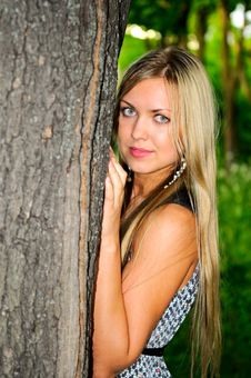 Free Girl Near The Tree Stock Image - 14089561
