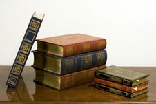 Classic Leather Bound Books Royalty Free Stock Photos