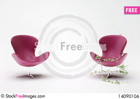 Free Two Purple Leather Chair Royalty Free Stock Image - 14090106