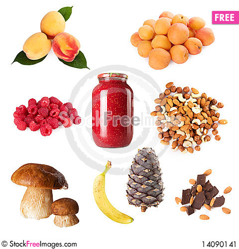 Free Collection Of Ripe Berry Fruits Nuts Mushroom Stock Image - 14090141