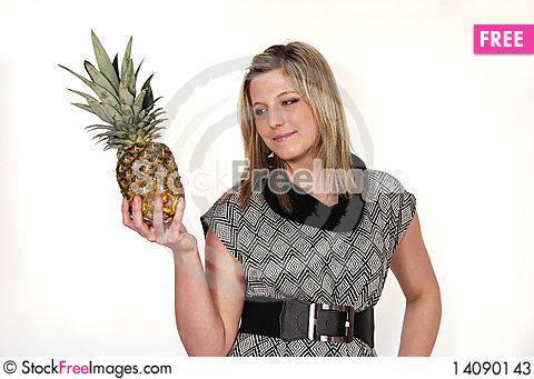 Free Woman With Pineapple Stock Photos - 14090143