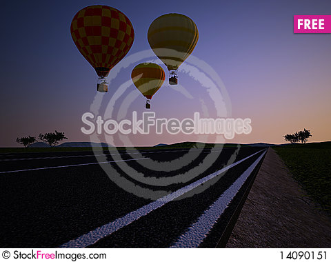Free Balloons At Sunset Stock Image - 14090151