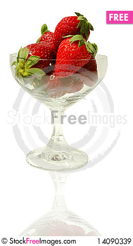 Free Strawberries In A Crystal Wineglass Royalty Free Stock Images - 14090339