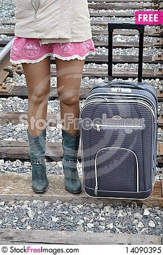 Free Pink Short Skirt, Train Tracks Royalty Free Stock Photo - 14090395