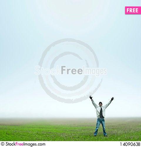 Free Man Happy In Field Royalty Free Stock Photos - 14090638