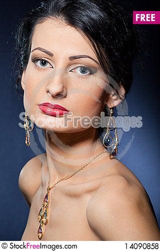 Free Beautiful Woman Wearing Jewelry Royalty Free Stock Photos - 14090858