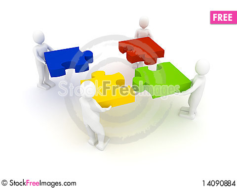 Free Puzzle Over White Background Stock Images - 14090884