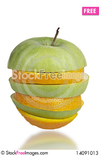 Free Apple And Orange Sliced Together Stock Photos - 14091013