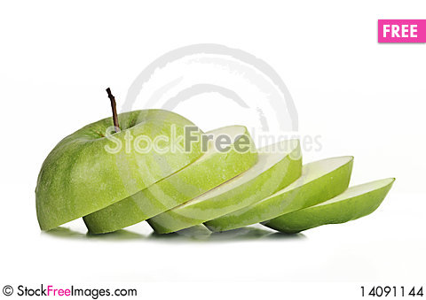 Free Sliced Juicy Granny Apple Stock Images - 14091144
