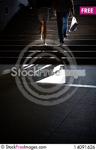Free People Going Upstairs In Subway Royalty Free Stock Image - 14091626