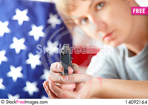 Free Woman With Gun Aiming At Something Stock Images - 14092164