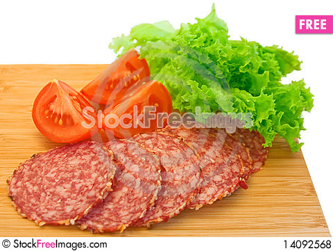 Free Slices Of Salami And Tomatoes Royalty Free Stock Photos - 14092568