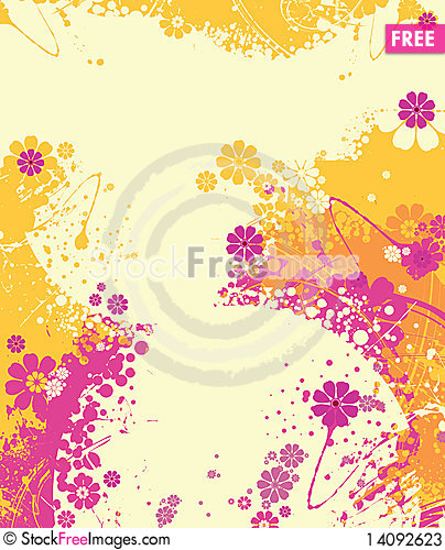 Free Flowers With Splashes And Wavy Lines. Stock Photos - 14092623