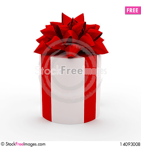 Free White Gift With Red Ribbon Royalty Free Stock Photos - 14093008