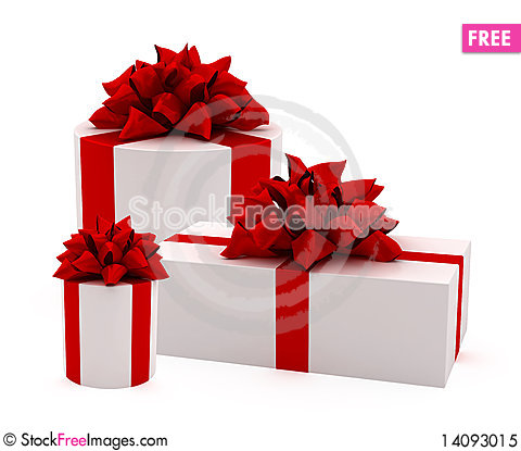 Free White Gift With Red Ribbon Royalty Free Stock Photo - 14093015