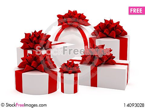 Free White Gifts With Red Ribbons Royalty Free Stock Photos - 14093028