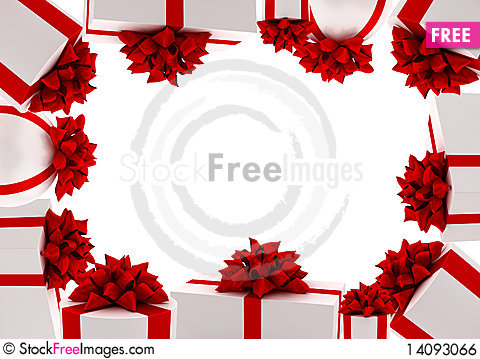 Free Frame From White Gifts With Red Ribbons Royalty Free Stock Image - 14093066