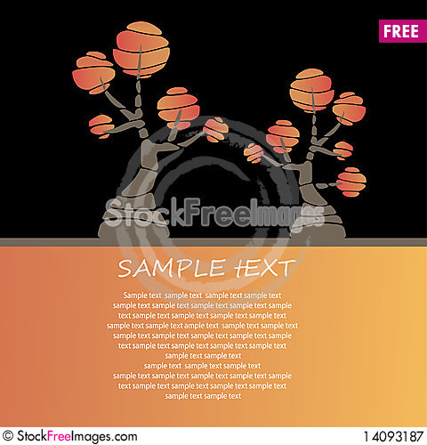 Free Card Design With Stylized Trees And Text Royalty Free Stock Photography - 14093187