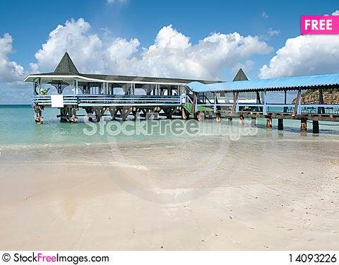 Free Pier Caribbean Sea Royalty Free Stock Image - 14093226
