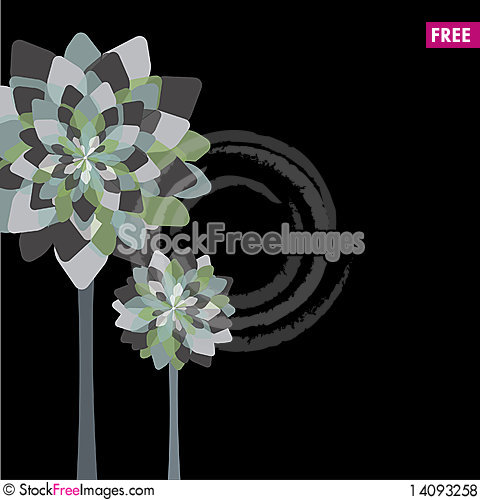 Free Card Design With Stylized Trees And Text Royalty Free Stock Photos - 14093258